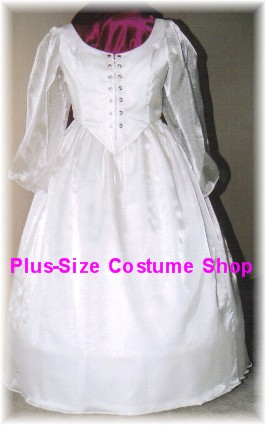 handmade plus size super size renaissance fairy tale modest satin wedding shimmer organza dress bridal gown
