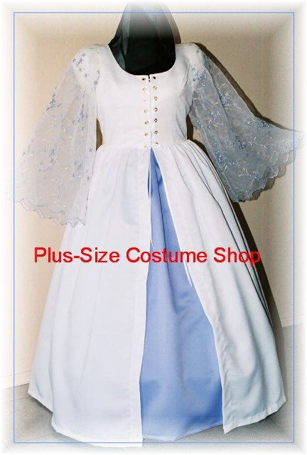 handmade plus size super size garden white satin wedding dress bridal gown with embroidered organza sleeves and blue satin underskirt