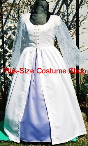 handmade plus size super size garden white satin wedding dress bridal gown with embroidered organza sleeves and lavender satin underskirt