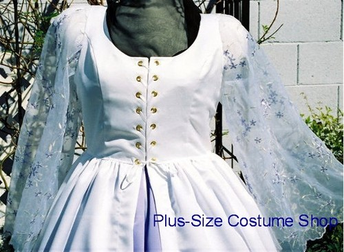 handmade plus size super size garden white satin wedding dress bridal gown with embroidered organza sleeves and lavender satin underskirt up close
