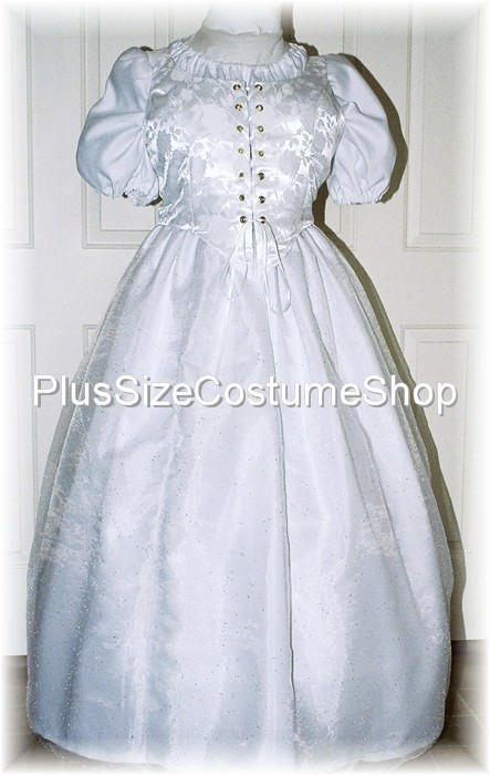 handmade plus size super size renaissance innocent modest satin wedding dress bridal gown with embossed satin brocade bodice corset and sparkle organza overlay skirt