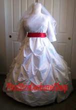 thumbnail plus size white satin lace tufted wedding dress bridal gown with red satin sash modest