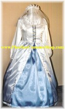 thumbnail renaissance plus size wedding dress bridal gown white satin overdress with gold trim and blue satin underskirt floral headpiece with veil