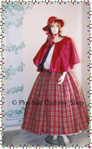 handmade plus size super size victorian dickens caroler mrs santa claus christmas holiday costume dress gown with red tartan plaid skirt