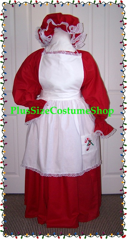 handmade plus size super size old fashioned mrs santa claus christmas holiday costume dress gown in red with white apron and mop cap