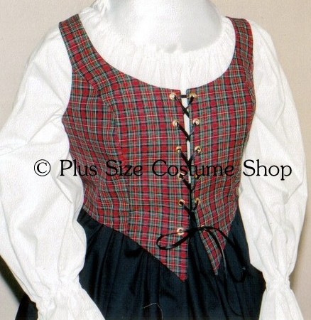 handmade plus size super size christmas red plaid tartan bodice corset santa claus holiday costume dress gown
