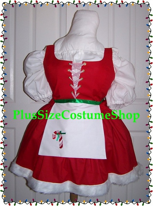handmade plus size super size sexy christmas elf mrs kinky santa claus holiday costume dress gown
