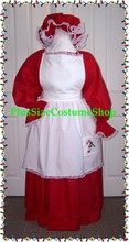 thumbnail plus size super size mrs santa claus old fashioned dress gown with apron mop cap red white