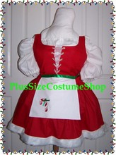 plus size super size sexy santa's helper elf renaissance mrs santa claus dress gown with red bodice white shirt candy cane apron white fur skirt