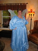 customer wearing Cinderella plus size Renaissance Halloween costume as Fairy Godmother from Shrek