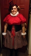 customer wearing plus size Masquerade Harlequin Halloween costume