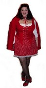 customer wearing plus size Renaissance Sexy Red Riding Hood Halloween costume with polka dot dotted skirt and cape