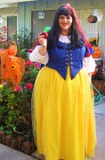 customer wearing plus size Snow White fairy tale Halloween costume with sparkle tulle overlay skirt