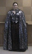 customer wearing plus size Renaissance silver Spider Web Witch Halloween costume with cape (custom)