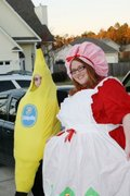 customer wearing plus size Strawberry Shortcake Halloween costume