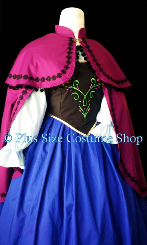 handmade plus size anna from frozen gown dress embroidered bodice skirt shirt cape & Anna Frozen Halloween Costume | Plus size and super size Halloween ...