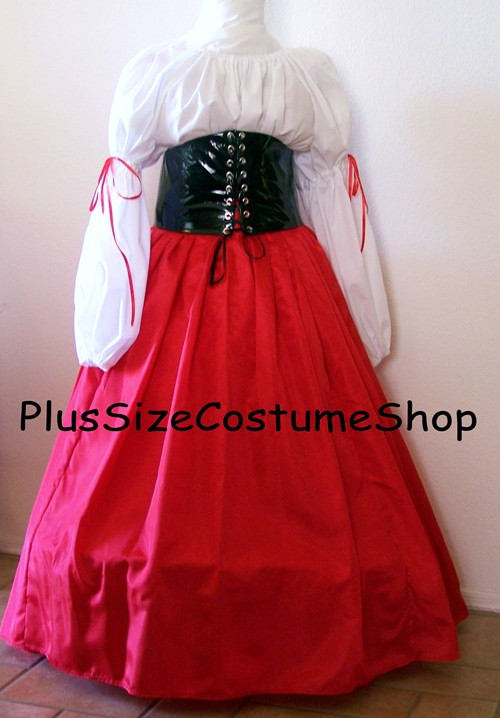 handmade plus size renaissance barmaid wench pirate halloween costume red satin skirt black pvc waist cincher & Barmaid Halloween Costume | Plus size and super size Halloween ...