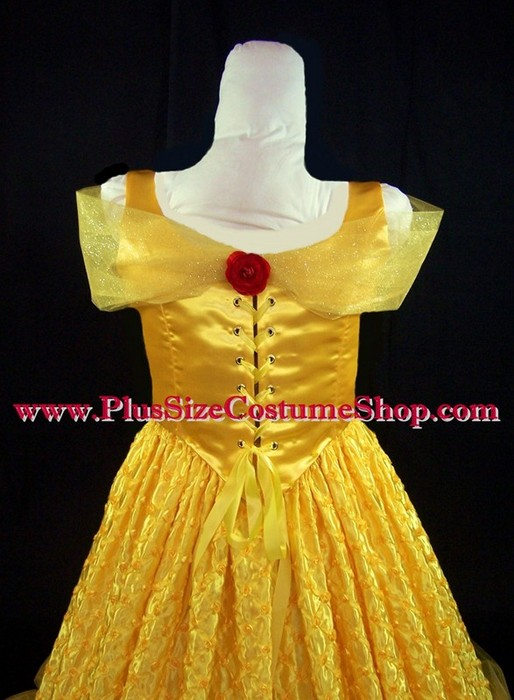 handmade plus size belle halloween costume from beauty and the beast renaissance ball gown dress up close bodice corset view