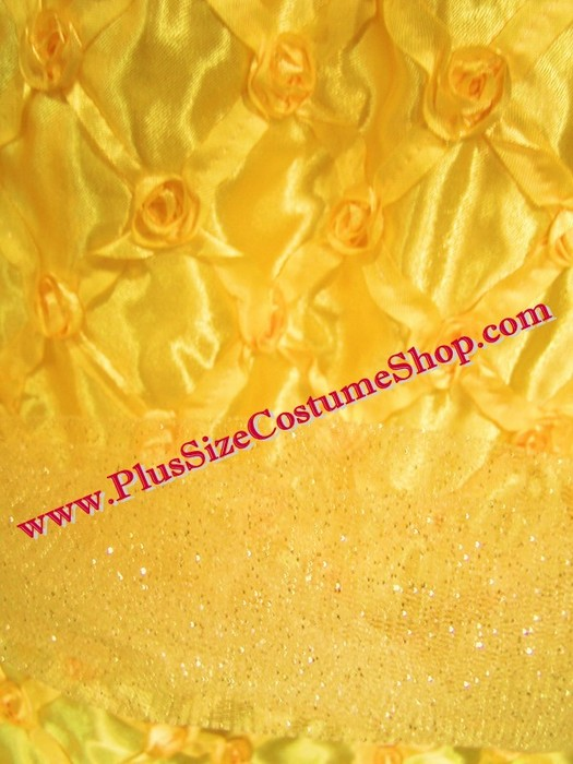 handmade plus size belle halloween costume from beauty and the beast renaissance ball gown dress up close fabric satin tulle rosette view