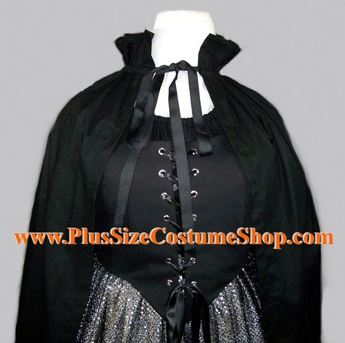 handmade plus size or super size stand-up collar cape shawl cloak halloween costume shown in black cotton