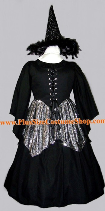 handmade plus size silver sequin gothic witch halloween costume renaissance gown dress black with silver sequin handkerchief style skirt and silver witch hat