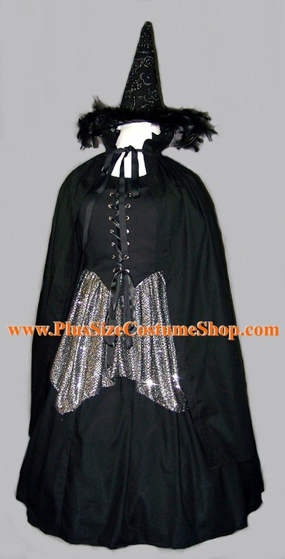 handmade plus size silver sparkle witch halloween costume renaissance gown dress hat black gothic peasant shirt skirt sequin silver skirt with stand-up collar black cotton cape