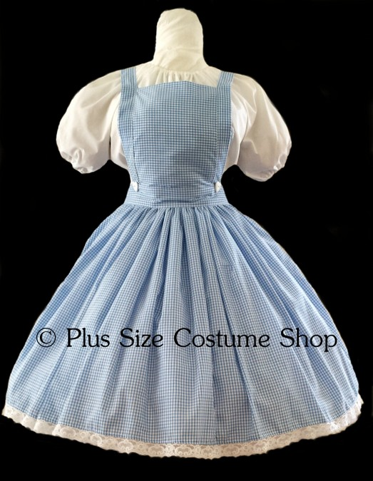 handmade plus size dorothy halloween costume from the wizard of oz wicked blue white gingham dress apron bib