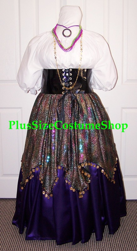 handmade plus size renaissance esmeralda gypsy halloween costume from the hunchback of notre dame multicolored sequin skirt purple satin skirt waist cincher