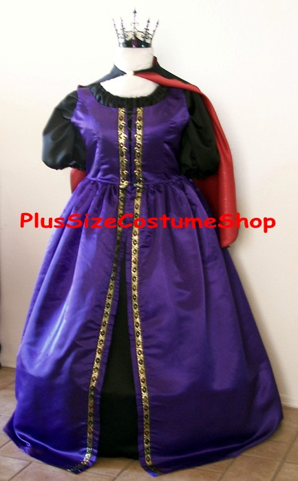 handmade plus size evil queen witch halloween costume from snow white renaissance gown dress purple black red satin gold trim