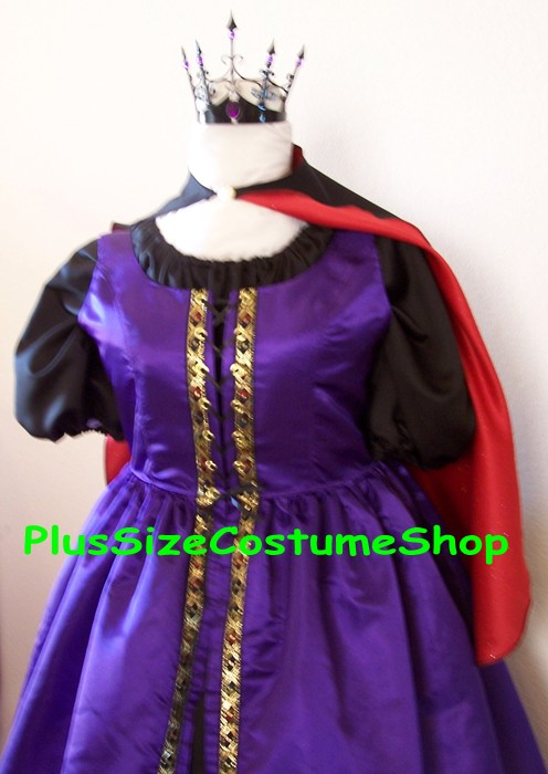 handmade plus size evil queen witch halloween costume renaissance gown dress purple black satin with cape
