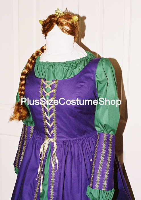 handmade plus size fiona halloween costume from the shrek purple green gold renaissance dress gown ogre & Fiona Halloween Costume | Plus size and super size Halloween ...