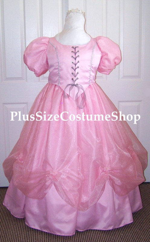 handmade plus size glinda the good witch halloween costume from the wizard of oz wicked galinda renaissance dress ball gown in pink satin beaded sparkle organza swag skirt rosettes puff sleeves