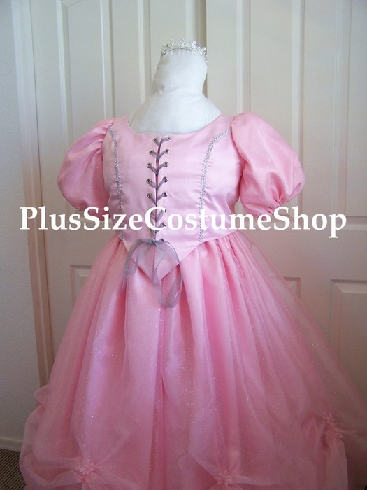 handmade plus size glinda the good witch halloween costume from the wizard of oz renaissance dress pink satin ball gown with beaded organza bodice corset view