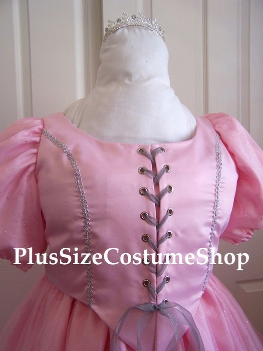 handmade plus size glinda the good witch halloween costume from the wizard of oz renaissance dress pink satin ball gown with skirt view