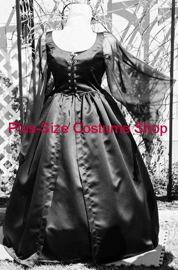 handmade plus size gothic witchy woman witch vampire vampiress vamp halloween costume renaissance dress black bridal satin chiffon wedding gown