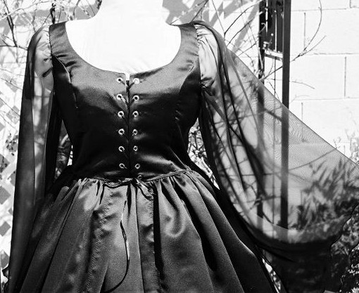 handmade plus size gothic witchy woman witch vampire vampiress vamp halloween costume renaissance dress black bridal satin chiffon wedding gown up close