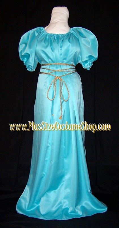 handmade plus size grecian goddess halloween costume roman woman lady angel cleopatra renaissance gown dress in nile blue no cape regency style