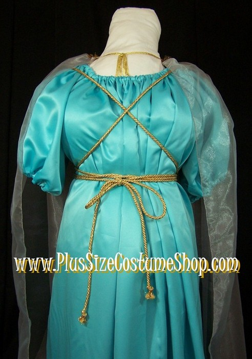 handmade plus size grecian goddess halloween costume roman woman lady angel cleopatra renaissance gown dress in nile blue and silver up close view