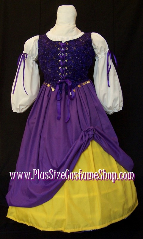 handmade plus size fortune teller gypsy esmeralda halloween costume renaissance gown dress purple gold celestial coins
