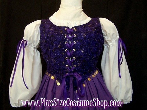 handmade plus size fortune teller gypsy esmeralda halloween costume renaissance gown dress purple gold celestial coins up close bodice corset view