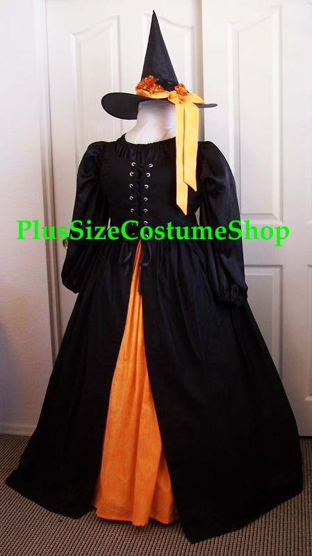 handmade plus size harvest witch halloween costume fall autumn renaissance gown dress black with orange skirt and blackbird hat