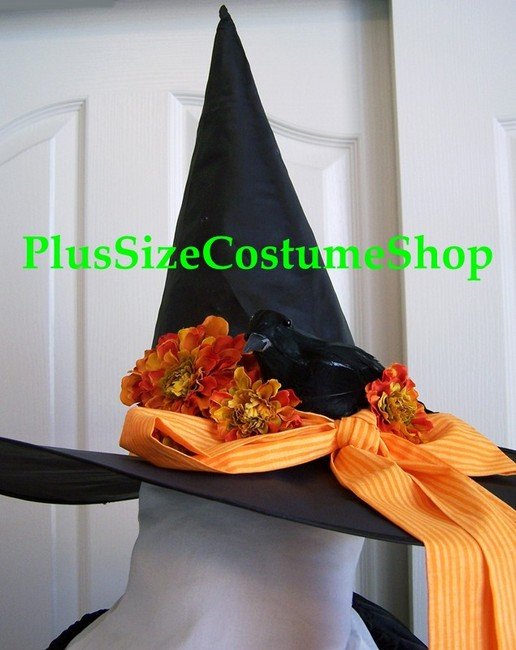 handmade plus size harvest witch halloween costume autumn fall renaissance gown dress hat black gothic up close view of witch hat with blackbird and fabric bow and silk flowers