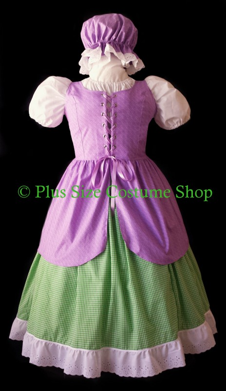 handmade plus size little bo peep halloween costume renaissance gown dress pink stripe and polka dot dotted shirt skirt mop cap eyelet lace trim