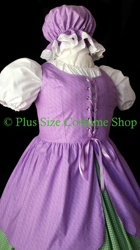 handmade plus size little bo peep halloween costume renaissance gown dress up close view little miss muffet rag doll