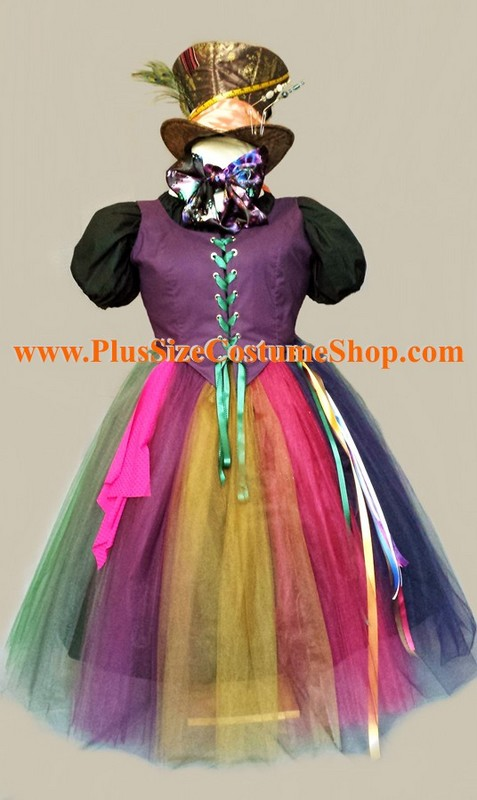 handmade plus size mad hatter halloween costume from alice in wonderland renaissance gown dress hat scarf bow tie ribbon streamer handkerchief hat pins