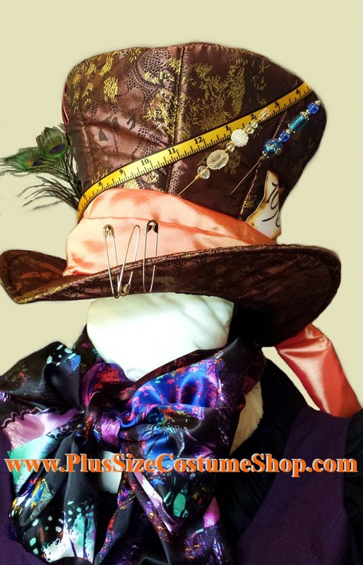 handmade plus size mad hatter halloween costume from alice in wonderland renaissance gown dress hat scarf bow tie ribbon streamer handkerchief hat pinsup close hat view