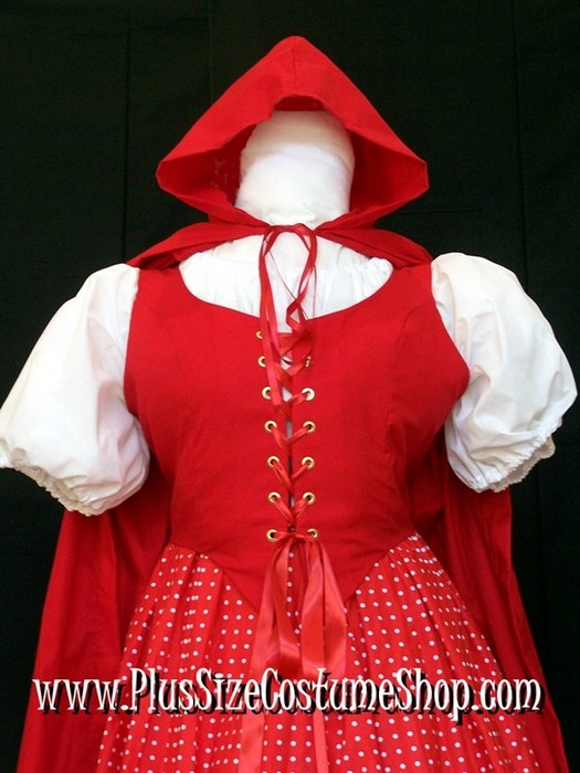 handmade plus size or super size hooded cotton or satin cape halloween costume shown in red