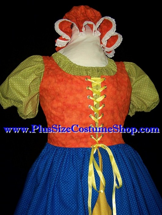 handmade plus size mother goose halloween costume renaissance gown dress up close view old mother hubbard crazy quilt lady little miss muffet rag doll