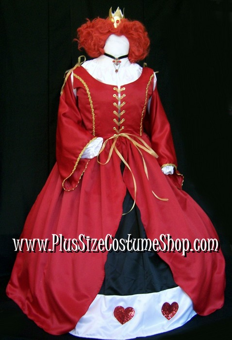 handmade plus size queen of hearts halloween costume from alice in wonderland renaissance ball gown pirate buccaneer red satin dress with oversleeves trimmed in gold with sequin heart patch embellishments