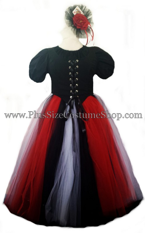 handmade plus size queen of hearts net tulle halloween costume renaissance gown dress